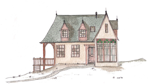 Jonathan Avery ink and water colour design for small cottage.