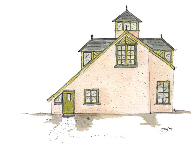 Jonathan Avery ink and water colour design for lodge house with cupola.