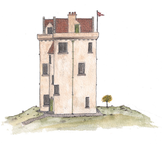Jonathan Avery ink and water colour design for tower house.